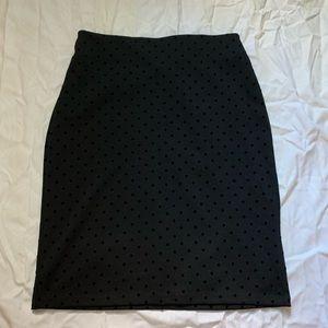 Black Polka Dot Pencil Skirt